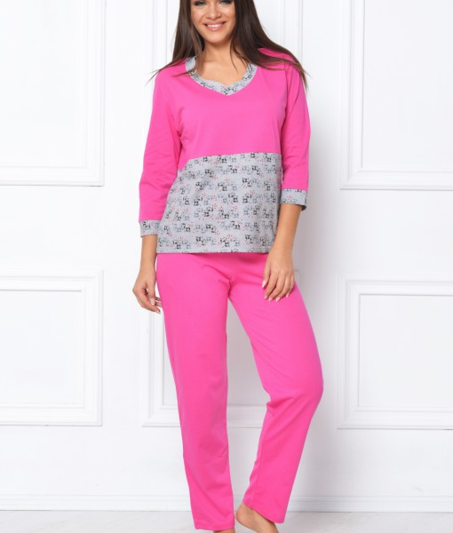pijama-gri-roz-cu-maneca-trei-sferturi-317-4236
