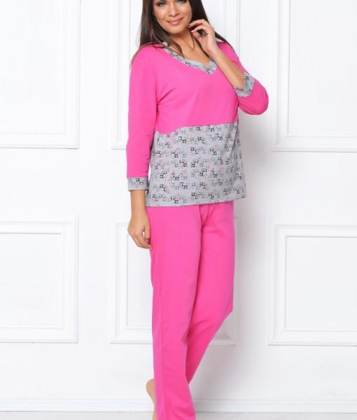 pijama-gri-roz-cu-maneca-trei-sferturi-317-8707