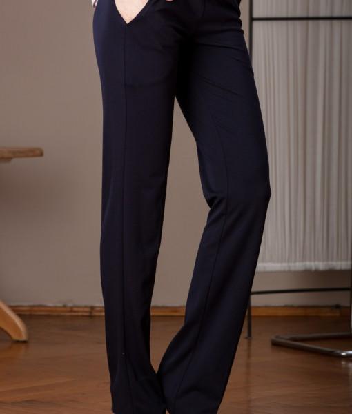 pantalon usor evazat din tricot elastic (6)