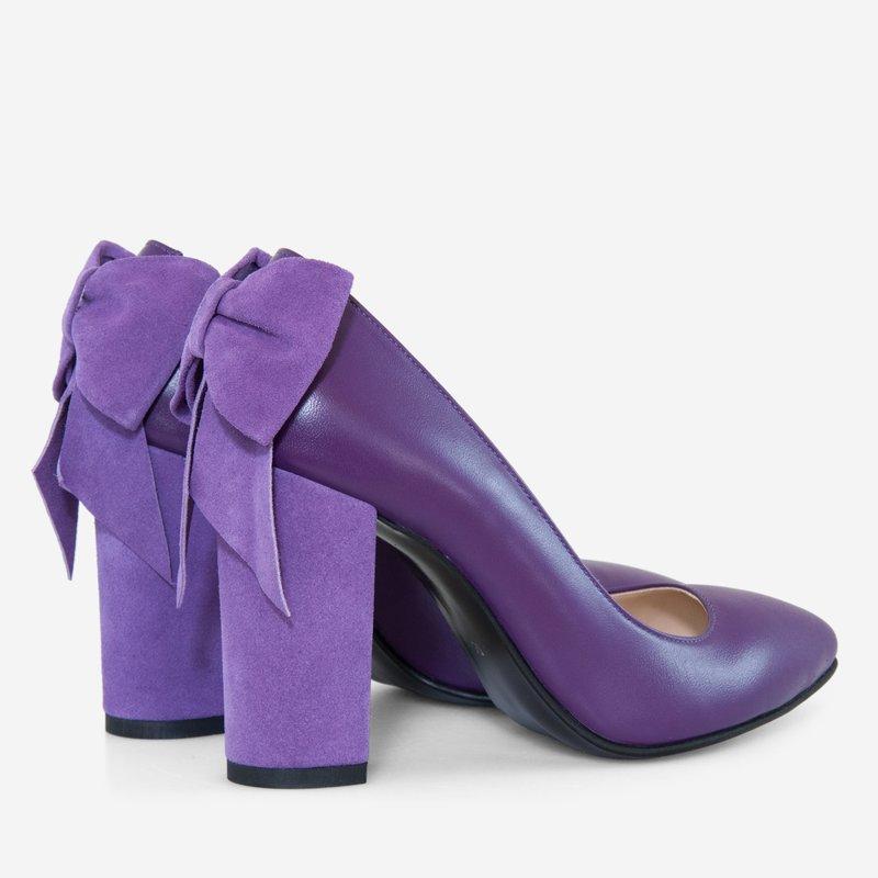 cumpărături prețuri de vânzare cu amănuntul cel mai recent design Pantofi dama cu toc gros din piele naturala mov, Lillian – noi9