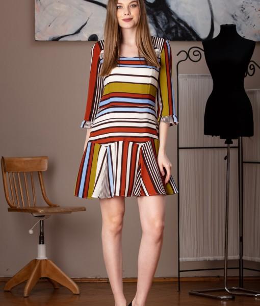 rochie casual cu dungi colorate (2)