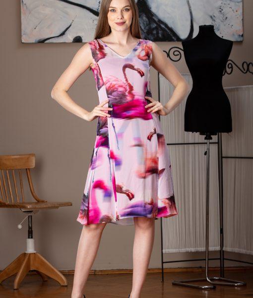 rochie eleganta din voal imprimat (1)