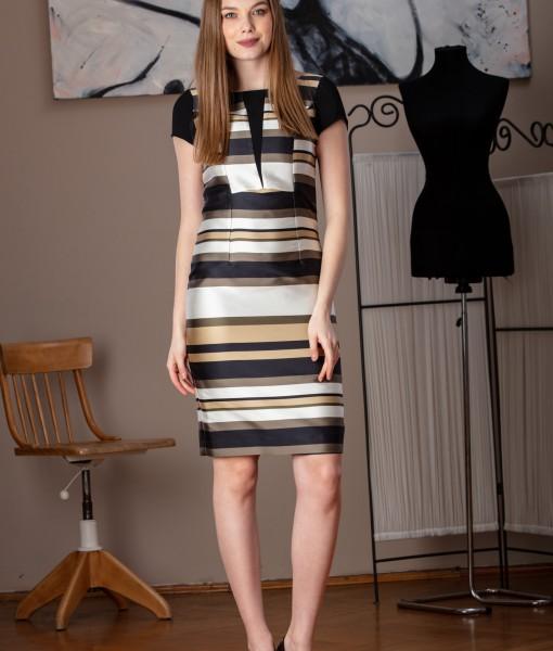 rochie office cu imprimeu dungi (2)