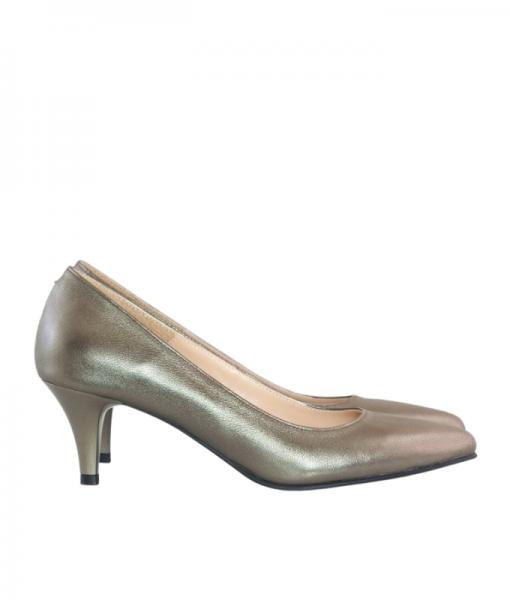 Pantofi dama cu toc comod din piele naturala bronz, Odelia