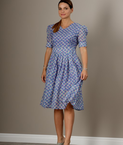 Rochie office din bumbac colorat (2)