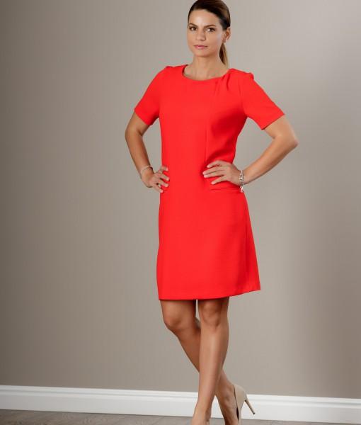 Rochie midi portocalie cu croi drept si maneca scurta