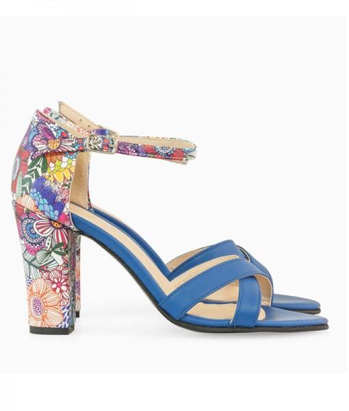 Sandale Dama Albastre Cu Toc
