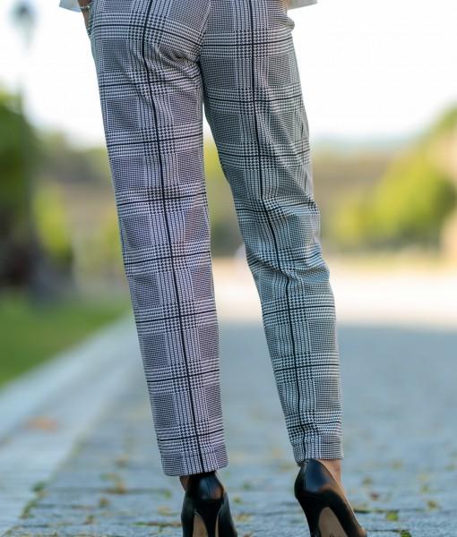 Pantalon-Dama-Casual-In-Carouri-Alb-Negru