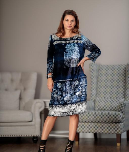 Rochie-Eleganta-Catifea-Albastra