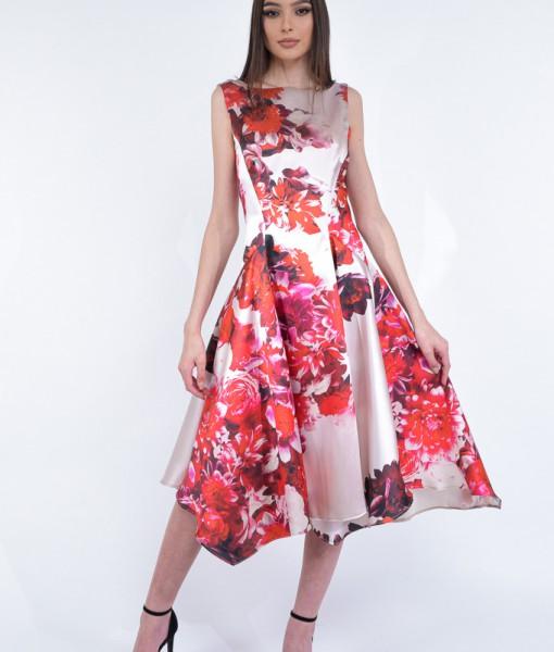 Rochie-Eleganta-Bej-Flori-Rosii