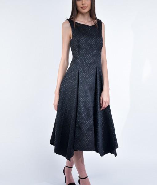Rochie eleganta, Impreza, tafta neagra cu buline in textura (8)