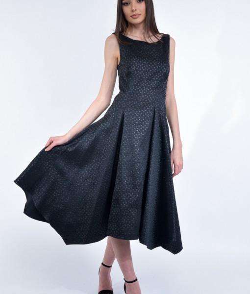 Rochie eleganta, Impreza, tafta neagra cu buline in textura (9)