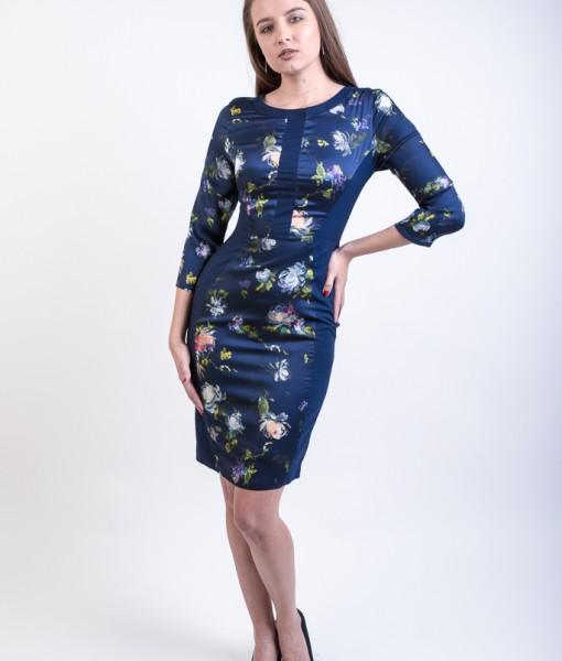 emag Rochie midi, Impreza, dreapta, bleumarin cu imprimeu floral (6)