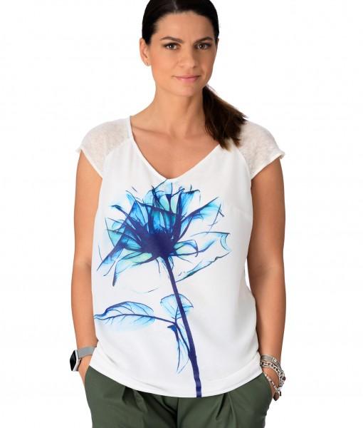 Tricou-Dama-Casual-Alb-Floare-Albastra