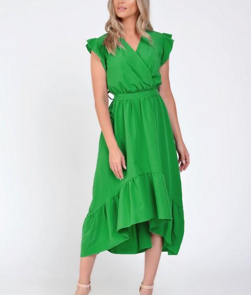 Rochie verde asimetrica cu volane umar, Amira