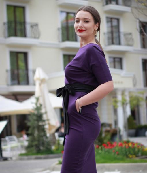 rochie-casual-mov-din-bumbac-cu-accesorizari-din-satin-negru (2)