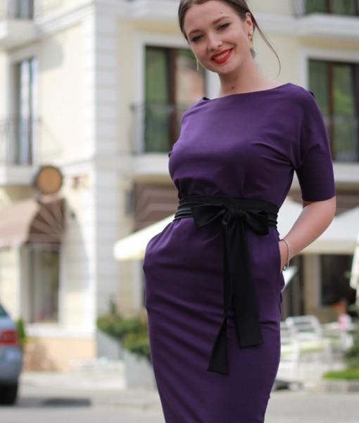 rochie-casual-mov-din-bumbac-cu-accesorizari-din-satin-negru