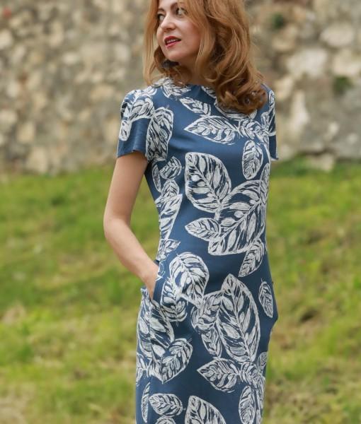 rochie-cu-maneca-scurta-din-in-albastru-cu-imprimeu-alb (4)
