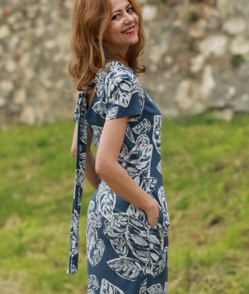 rochie-cu-maneca-scurta-din-in-albastru-cu-imprimeu-alb (5)
