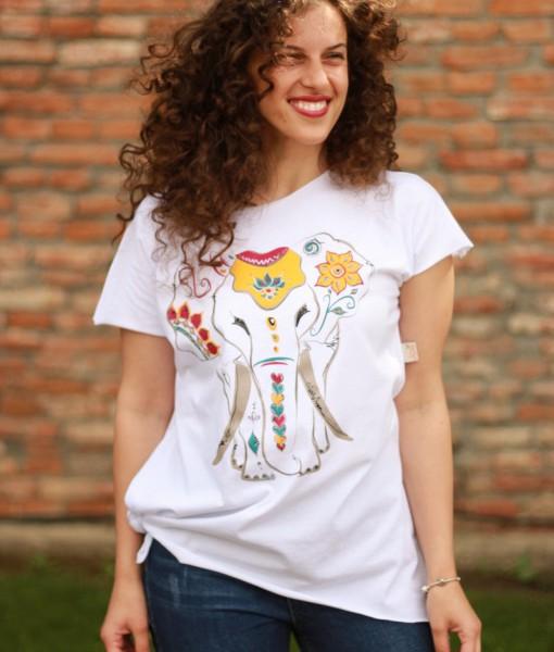 tricou-alb-despicat-pe-lateral-imprimeu-elefant