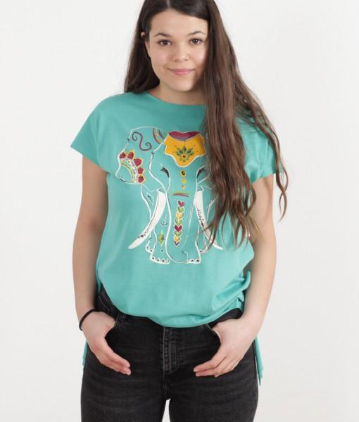 tricou-aqua-despicat-pe-lateral-imprimeu-elefant (3)