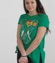 Tricou Verde Din Bumbac Despicat Pe Lateral Joa
