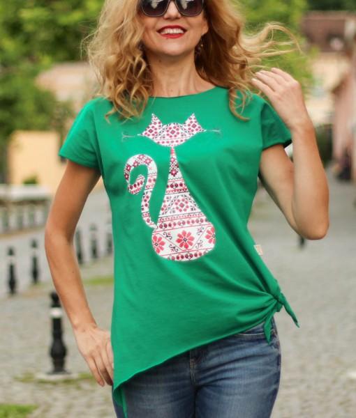 Tricou Dama Verde Cu Pisica Romaneasca Joa