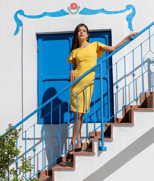 Rochie Conica Cambrata Decolteu Rotund Couture de Marie