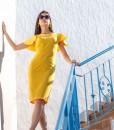 Rochie Galbena Conica Maneci Ample Couture de Marie
