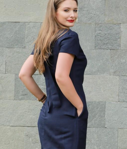 rochie-cu-maneca-scurta-din-in-bleumarin (1)