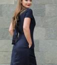 rochie-cu-maneca-scurta-din-in-bleumarin
