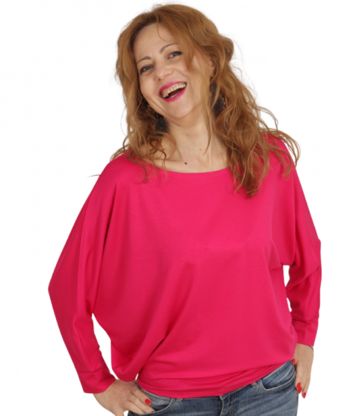 Bluza Fluture Roz Cu Maneci Lungi