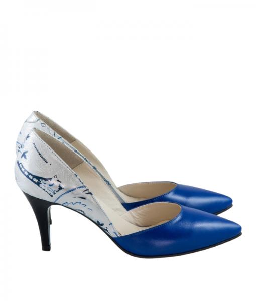 Pantofi Eleganti Din Piele Naturala Albastru Floral Diane Marie
