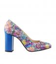 Pantofi cu Toc Gros Piele Imprimata Diane Marie