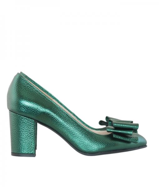 Pantofi dama din piele naturala verde, Vanita