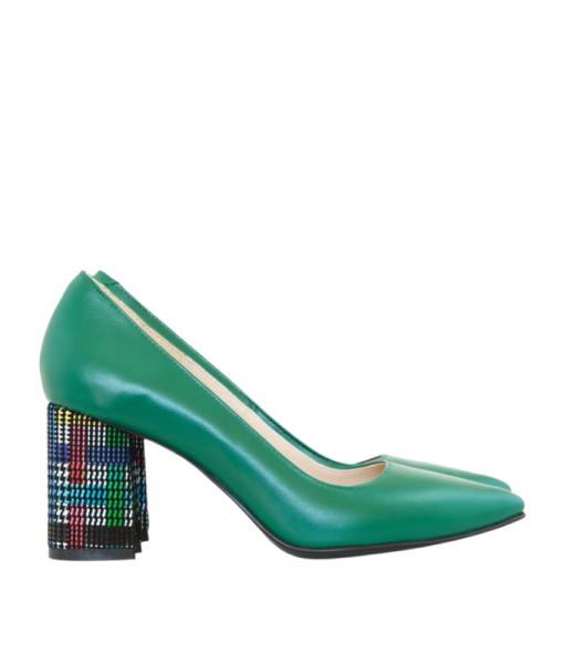 Pantofi dama cu toc comod din piele naturala verde, Imma