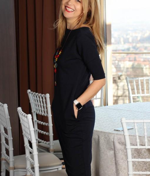 Rochie Bleumarin Cu Buzunare Joa