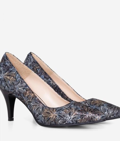 Pantofi Piele Imprimata cu Flori Bronz Diane Marie