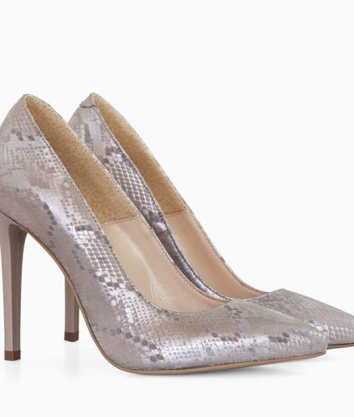 Pantofi Stiletto Din Piele Naturala Grej Diane Marie